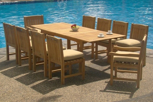 Kingston Teak Chairs with Rectangular shaped table by the pool.