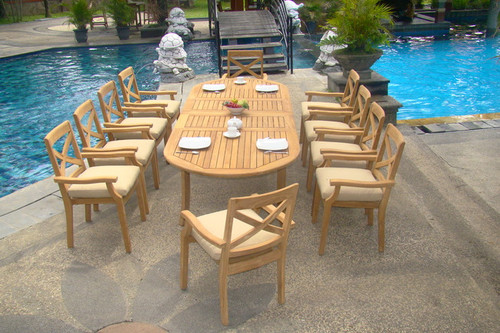 Outdoor 11pc Teak Dardanelle Set With Oval Table