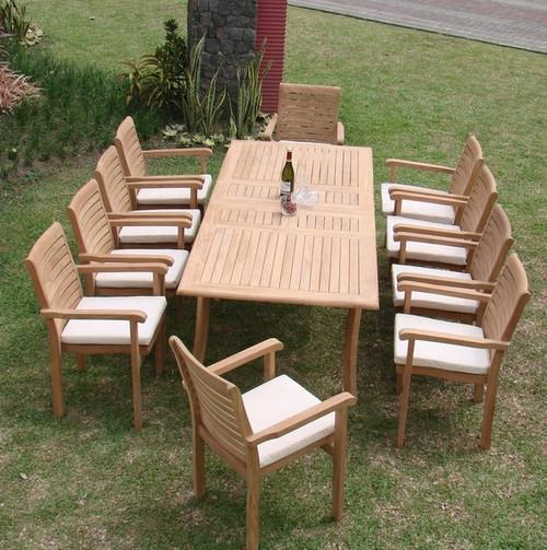 11pc Teak Cypress Dining Set.