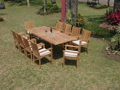 11pc Aruba Teak Outdoor Dining Set With Rectangle Table