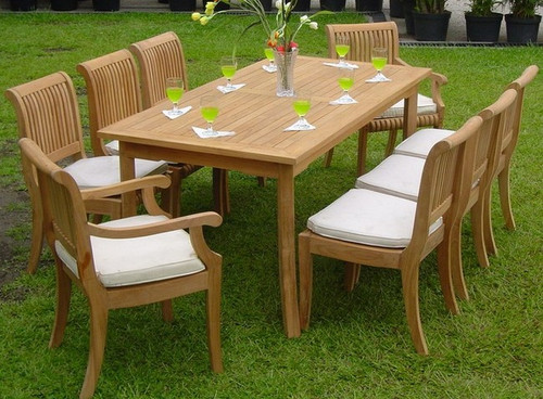 9pc Teak KUTA Dining Set with Small Rectangle Table