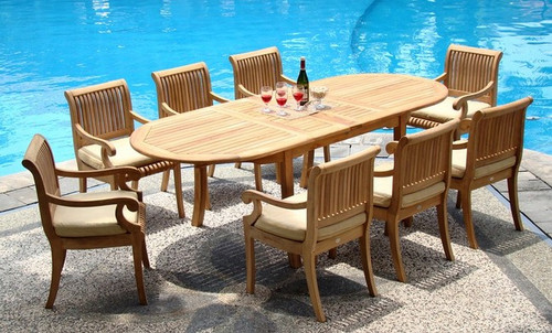 9pc Kuta Teak Set with all Arm Chairs
