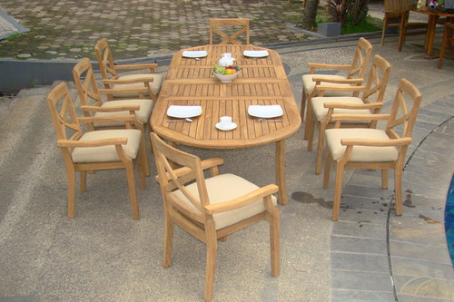 Long Teak Table with 8 Teak Dardanelle Stacking Chairs.