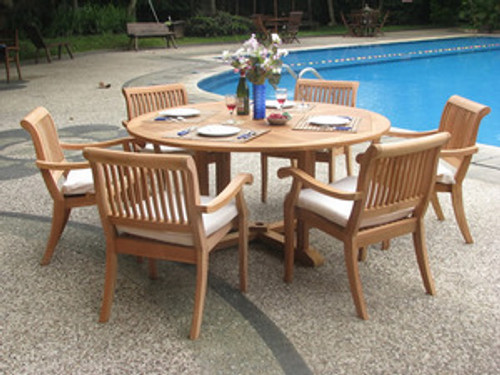 Sutter Teak Stacking Chairs with Round Table.