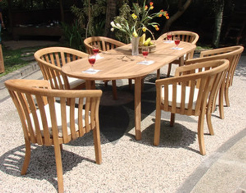 Teak Royal Arm Chairs with Oval Table.