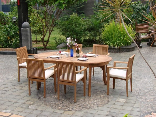 Teak Rio Stacking Chairs and Oval Table.