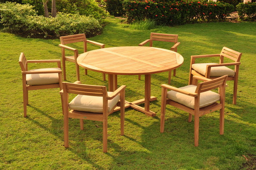 Modern teak chairs with round table.