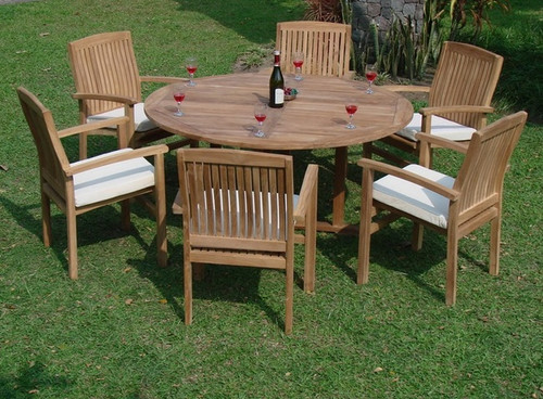 teak rand stacking chairs and round table