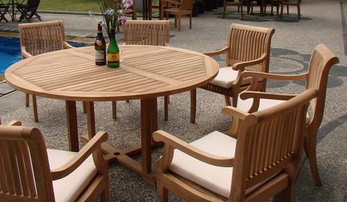 Large Round Teak Table with 6 chairs