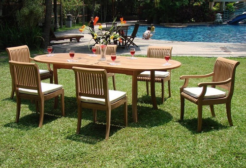 6-seat teak dining set with Kuta Arm Chairs