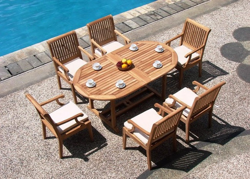 7 piece teak outdoor dining set