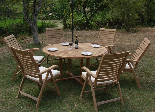 round teak table with folding chairs