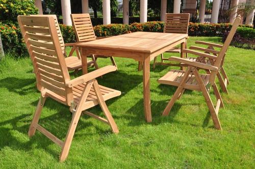 teak folding chair set