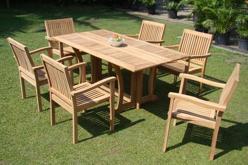 pre-assembled teak dining set
