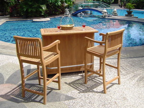 teak bar and chairs