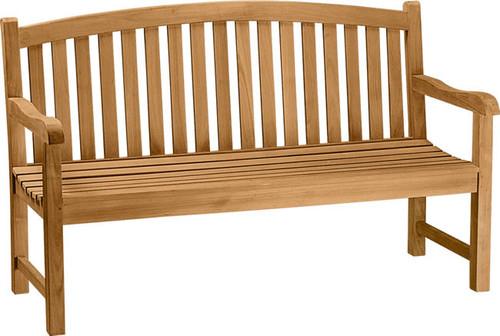 teak bow back bench