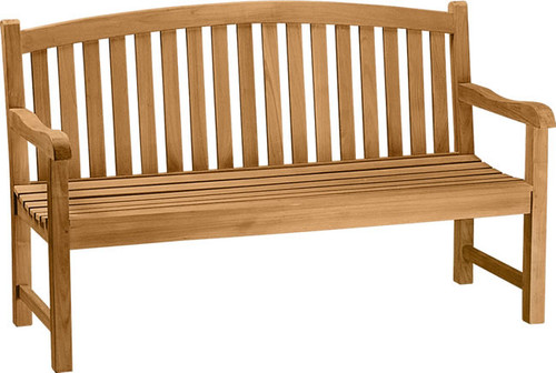 teak bow back bench