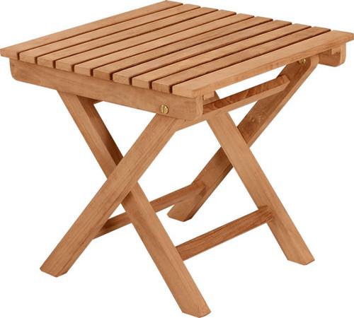 small square teak folding side table