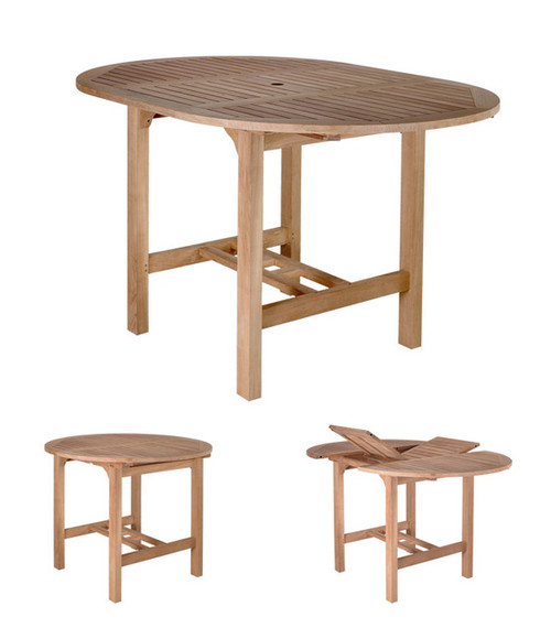 large teak pub table with extension