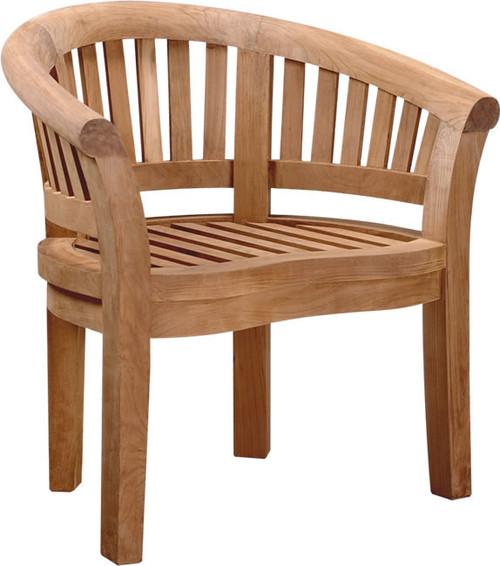 Heavy teak arm chair.