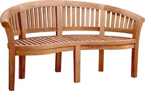 Curved teak peanut bench.