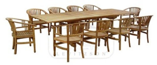 11pc teak dining set with captains chairs