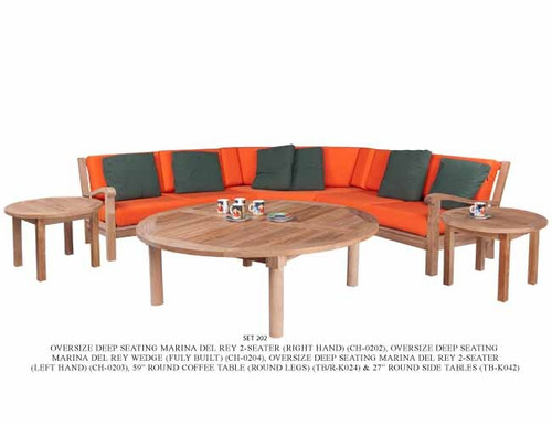 6pc teak Marina Del Rey Sectional Set