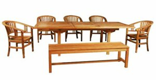 Teak outdoor dining set with bench. Includes tropical chair design.
