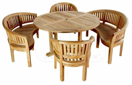 Heavy teak dining set. All curved teak construction with superb craftsmanship.