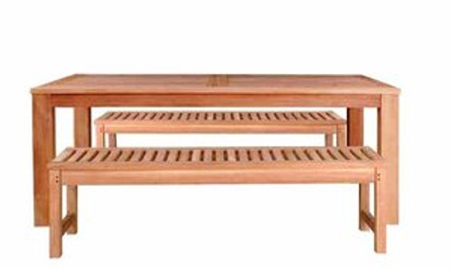 teak tables with benches