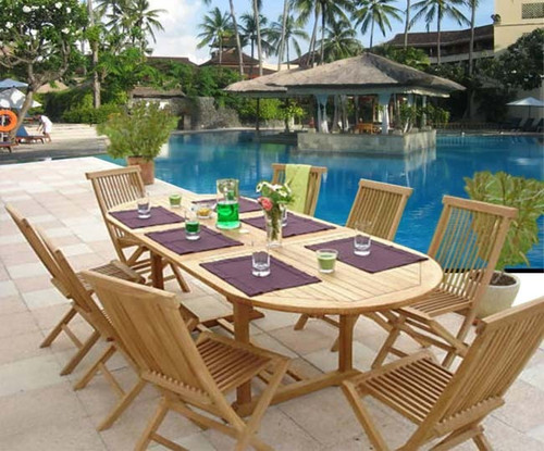 9pc teak dining set with folding chairs