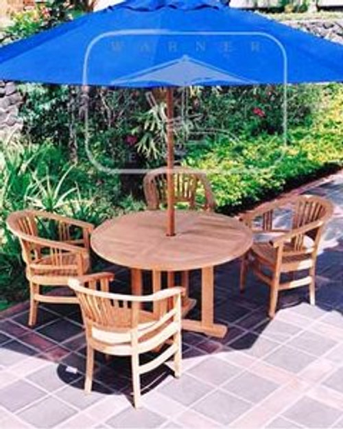 Nice round teak outdoor table with four teak chairs.