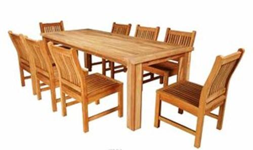 Heavy duty teak dining set with eight teak chairs.