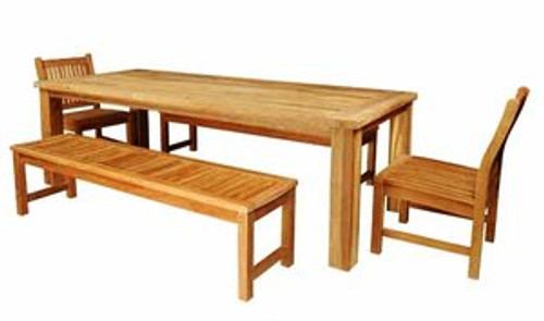 New teak dining set composed of chairs and benches.
