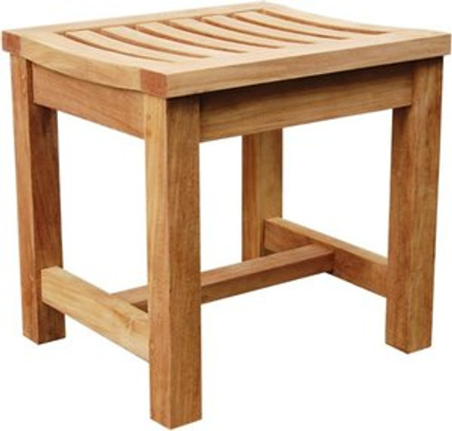Small teak stool. Economy grade.