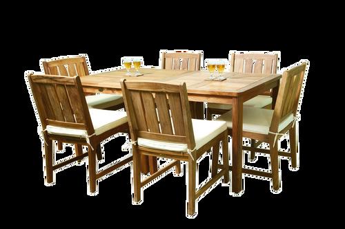 Two teak KONA bistro tables with six teak KONA chairs.