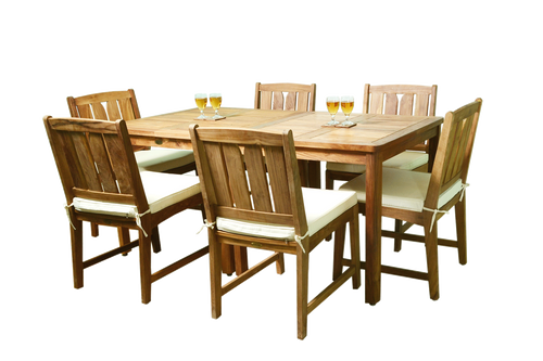 Two teak KONA bistro tables with six teak KONA chairs.