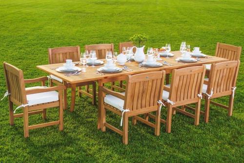 New Kingston Teak Outdoor Patio Dining set that seats eight.