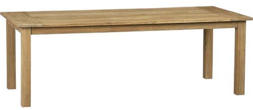 Long rustic reclaimed teak table that seats twelve.