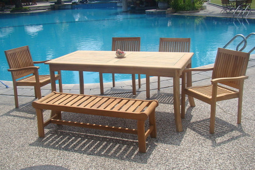 LACOVIA TEAK DINING SET - (with bench)
