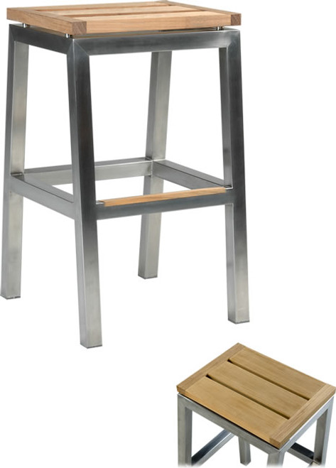 Teak and stainless steel bar stool.