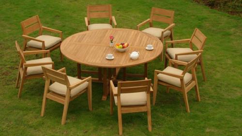 AMIRA TEAK ROUND DINING SET (8-seat)