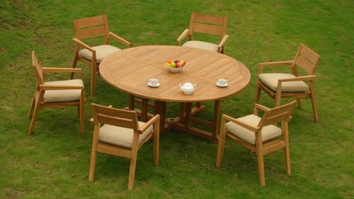 AMIRA TEAK ROUND DINING SET (6-seat)
