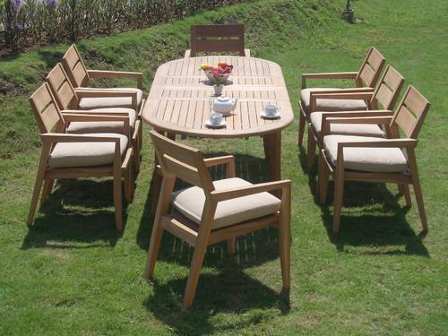 AMIRA TEAK OVAL DINING SET (8-seat)