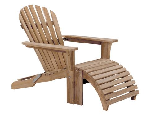 Teak Folding Adirondack Chair With Ottoman
