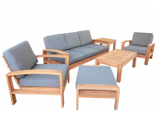 (6pc) CRADA TEAK DEEP SEAT SET
