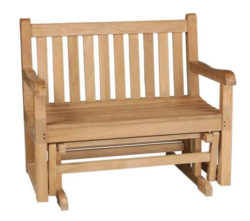 small teak glider bench