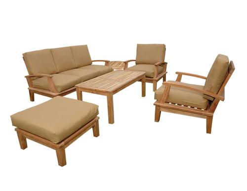 (6pc) SANTA FE TEAK DEEP SEAT SET - II