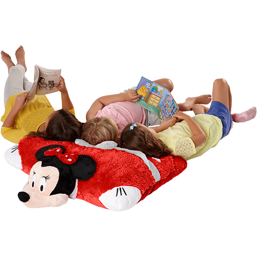 Disney Jumboz Rockin' the Dots Minnie Mouse Pillow Pet with 3 girls reading books
