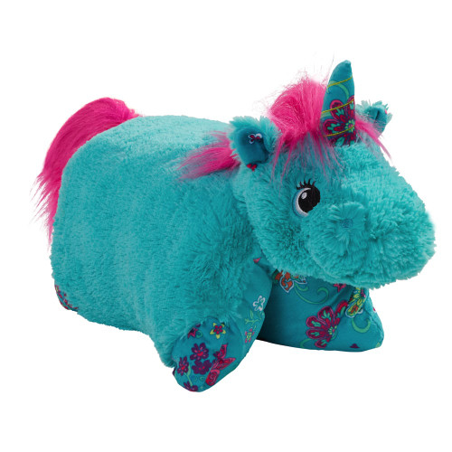 Colorful Teal Unicorn Pillow Pet FoldedColorful Teal Unicorn Pillow Pet